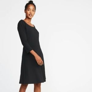Fit & flare 3/4-sleeve jersey dress